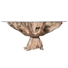 JAKARTA SMALL DINING TABLE- NATURAL  Chamcha Natural Finished Wood Base with a Round Beveled Edge G
