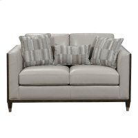 Addison Leather Loveseat with Wooden Base in Frost Grey Product Image