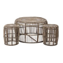 Neutro Rattan Coffee and Accent Tables - Set of 3