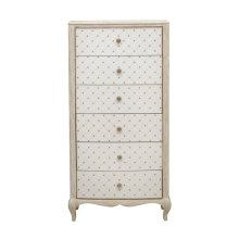 Reece 6 Drawer Lingerie Chest in Distressed Cream / White