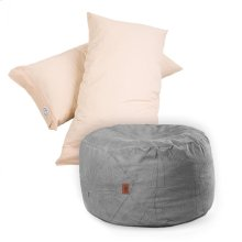 Pillow Pod Footstools - Chenille - Charcoal