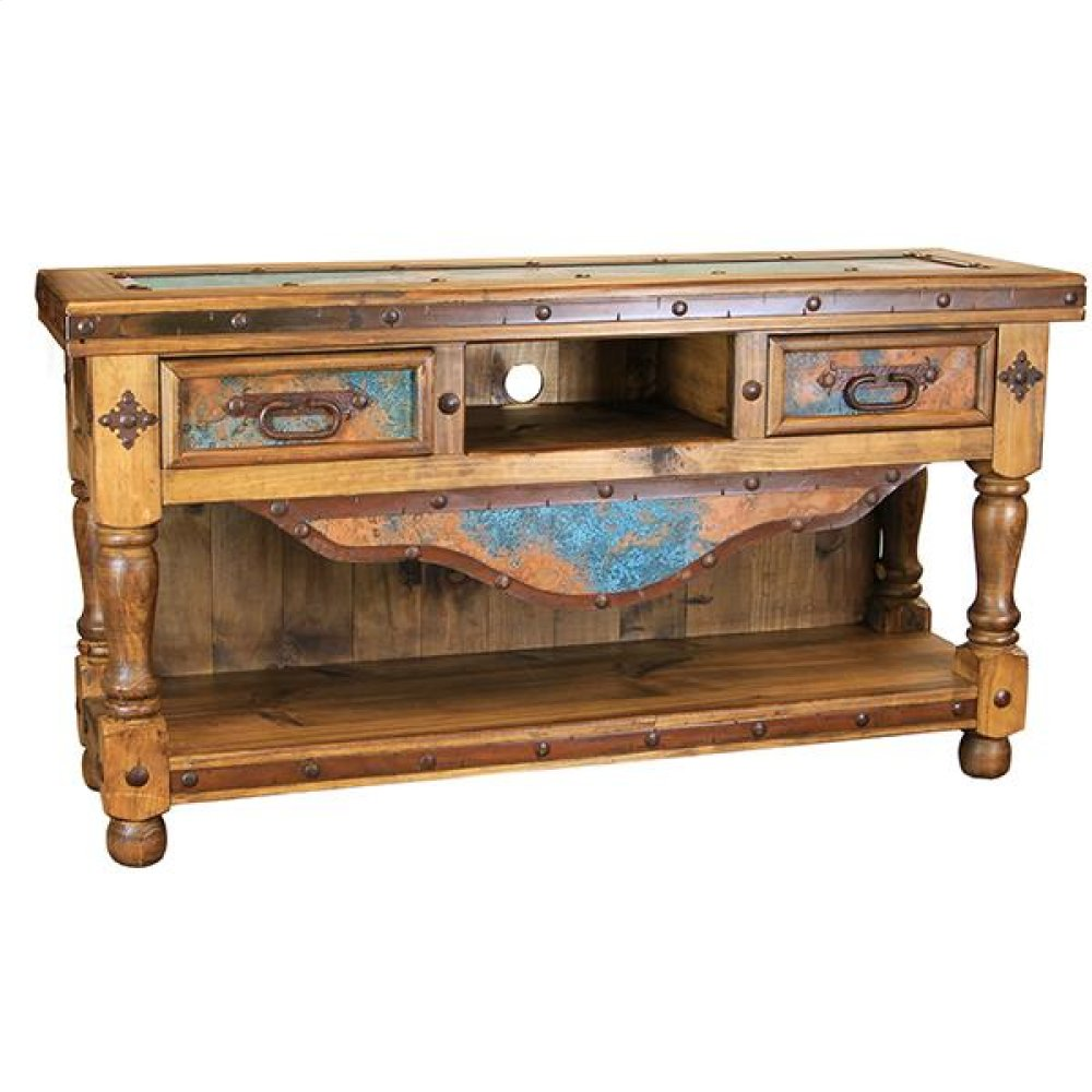 """Turquoise Copper 60"""" TV Console"""