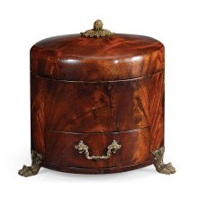Round Crotch Mahogany Jewellery Box