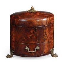 Round Crotch Mahogany Jewellery Box