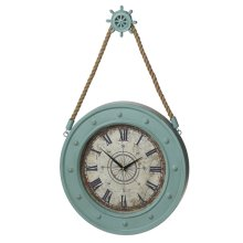 Aqua Compass Clock with Ship Wheel Hook