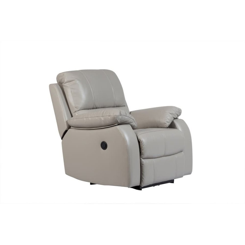 Angus Light Gray Leather Power Recliner, MP7791
