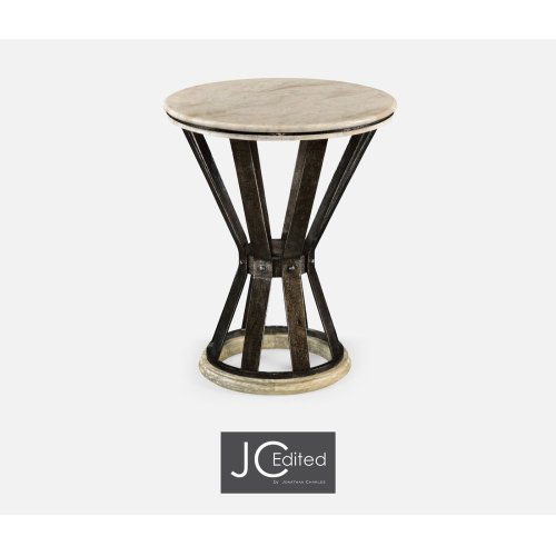 Wrought Iron Round Table with Light Marble Top