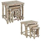 Bengal Manor Mango Wood Distressed Grey Set of Nested Tables Product Image