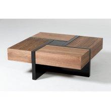 Modrest Makai Modern Walnut & Black Square Coffee Table