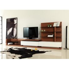 Modrest Jefferson Modern Walnut and White High Gloss TV Unit