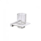 AS160 - Crystal Glass Tumbler with Wall Mounted Holder - Polished Chrome
