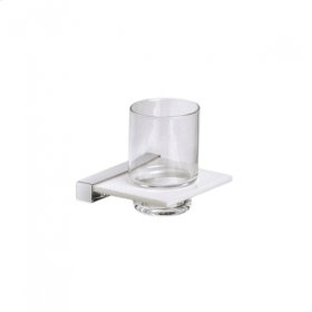 AS160 - Crystal Glass Tumbler with Wall Mounted Holder - Brushed Nickel