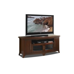 "64"" Wide, Curved Front Credenza, Solid Wood and Veneer In A Walnut Finish, Accommodates Most 70"" and Smaller Flat Panels"