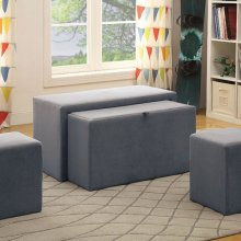 Ellie Storage Bench, Gray Flannelette