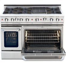 "48"" Gas Self Clean, Rotisserie in Oven, 6 Open Burners, 12"" Broil Burner"