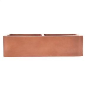 "35"" Port Double Bowl Copper Farmer Sink Product Image"