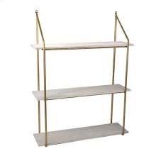 "Wood / Metal 31"" 3 Tier Wall Shelf, White"