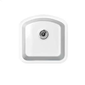 "Farmhaus Fireclay Elementhaus single D-bowl fireclay sink that can be installed as a drop-in or undermount sink with a 3 1/2"" rear center drain. Product Image"