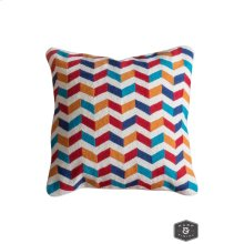 JENKINS PILLOW- MULTI  Hand Embroidered Wool on Cotton  Down Feather Insert