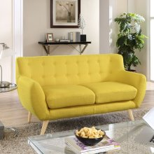 Remark Upholstered Fabric Loveseat in Sunny