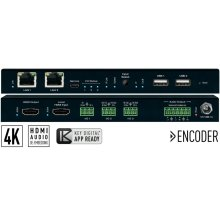 4K UHD AV over IP Decoder with Independent Video, Audio, KVM/USB Routing and Video Wall Processing. Audio De-Embed with Volume, Delay, and Bass/Mid/Treble Control, 2 port PoE LAN Switch, Local HDMI In, 3 port IR, RS-232, Trigger Master Controller / Control Gateway.