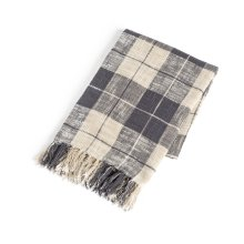 Grey & Cream Plaid Slub Woven Throw