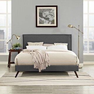 Amaris Queen Fabric Platform Bed with Round Splayed Legs in Gray