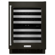 """24"""" Stainless Steel Wine Cellar with Metal-Front Racks - Black Stainless Steel with PrintShield™ Finish Product Image"""