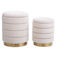 HOLLACE OTTOMAN BEIGE- SET OF 2  Beige Velvet Storage Ottoman with Gold Finish on Metal Band