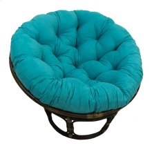 Bali 42-inch Rattan Papasan Chair with Microsuede Fabric Cushion - Walnut/Aqua Blue