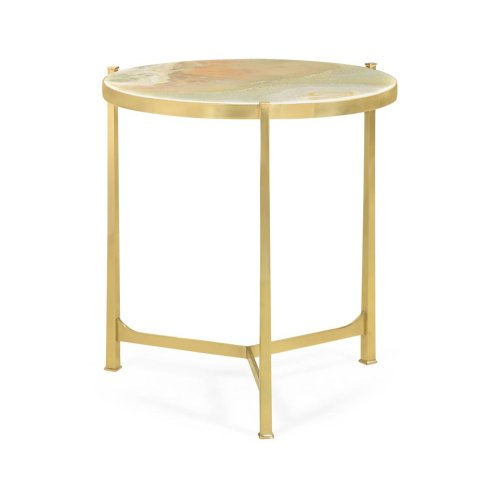 Polished solid brass lamp table with Green Onyx top (Large)