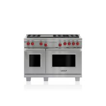 """GREAT PRICE - SUPERIOR QUALITY - WOLF 48"""" LP Dual Fuel Range - 6 Burners and Infrared Griddle / TAKE ADVANTAGE OF THIS NEVER USED, FULL WARRANTY PROFESSIONAL DUAL FUEL RANGE FROM WOLF... THIS UNIT HAS BEEN A FLOOR MODEL DISPLAY MODEL SITTING IN ONE OF OUR DESIGNERS SHOWROOMS SINCE 2004... IT WILL DELIVER THE SAME QUALITY PERFORMANCE AS MODELS ROLLING OF THE WOLF PRODUCTION LINES TODAY...TAKE ADVANTAGE AND SAVE BIG...."""