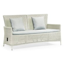 """70"""" White Wicker Rattan Two-Seat Sofa with Reclining Back, Upholstered in COM"""