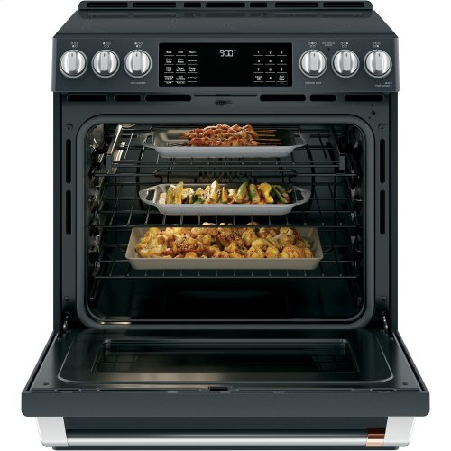 """Café 30"""" Smart Slide-In, Front-Control, Induction and Convection Range with Warming Drawer"""