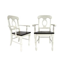 DLU-ADW-C50A-AW-2  Andrews Napoleon Arm Chair  Antique White with Chestnut Seat  Set of 2