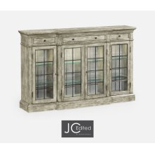 Four Door China Display Cabinet in Rustic Grey