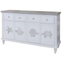 Montauk  60in X 18in X 37in  4 Drawer 4 Door Cabinet with Crown Molding Top & Bobbin Spool Style C