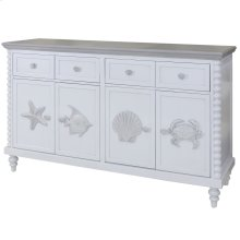 Montauk  60in X 18in X 37in  4 Drawer 4 Door Cabinet with Crown Molding Top & Bobbin Spool Style C