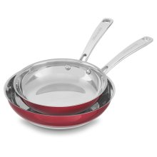 """Stainless Steel 8"""" and 10"""" Skillets Twin Pack - Candy Apple Red"""