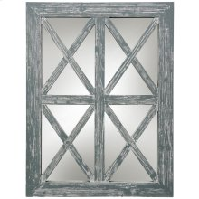 Gray Wash Window Wood Mirror  30in X 40in