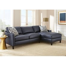 "Alder Right Arm Chaise,Ink Blue 37""x64""x36"" w/one Accent Pillow"