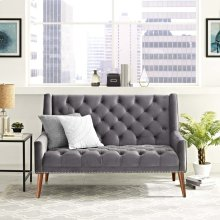 Peruse Performance Velvet Loveseat in Gray