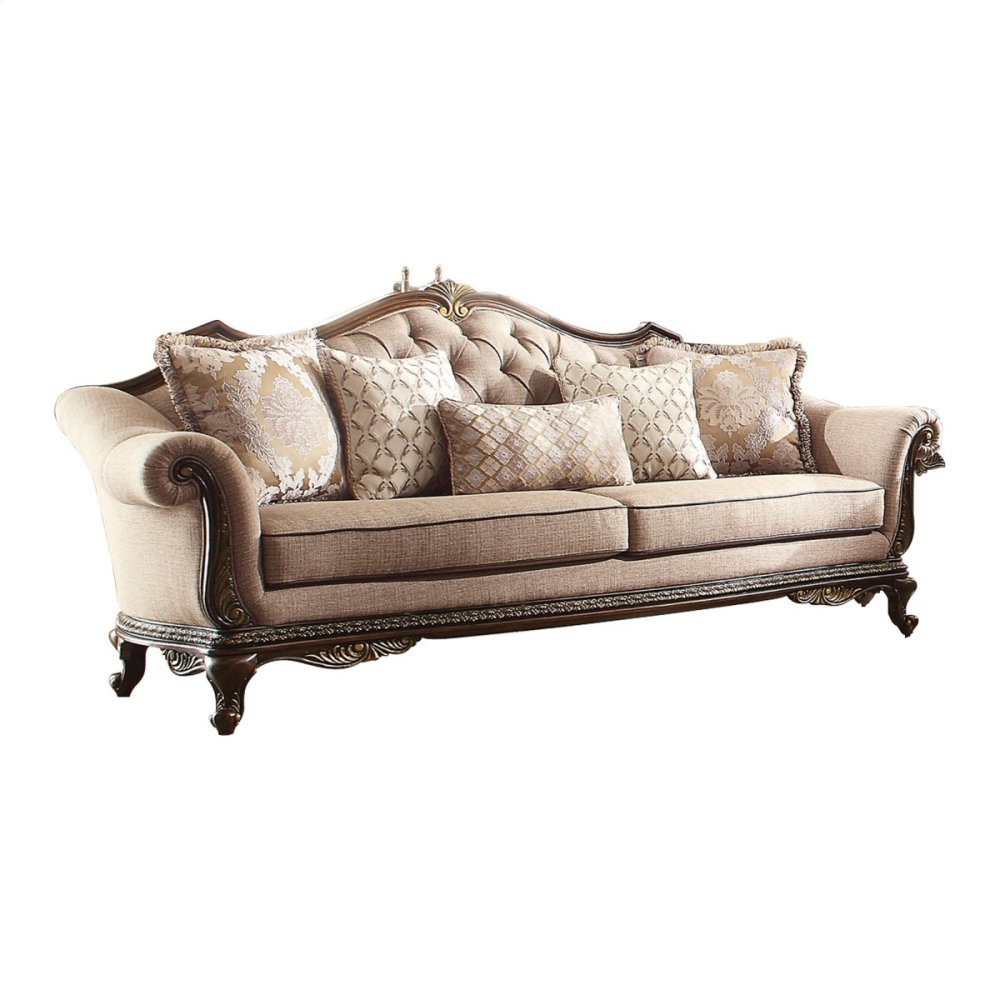 Sofa with 4 Square and 1 Kidney Pillows