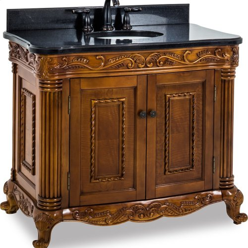 """39-11/16"""" vanity with burled veneer and hand-carved botanical and rope details and framed with reed-style columns with preassembled top and bowl."""