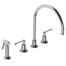 Fleetwood lever 4-hole kitchen mixer with metal-finish pull-out hand-spray