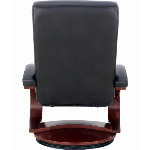 Black Top Grain Leather with a Merlot Finish - Reclines - Swivels - Lumbar Support - Angled Ottoman - Quality Top Grain Leather