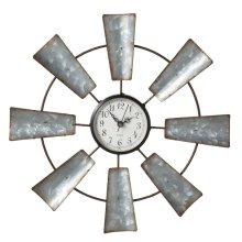 Small Galvanized Windmill Wall Clock