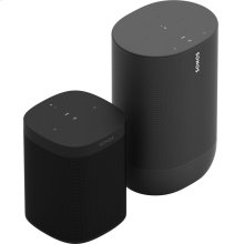 Black- A pair of smart speakers for voice-controlled sound in up to two rooms and outside.