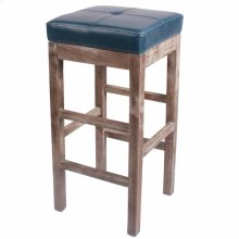 Valencia Bonded Leather Bar Stool Drift Wood Legs, Vintage Blue