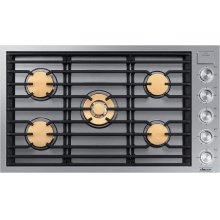 """Modernist 36"""" Gas Cooktop, Silver Stainless Steel, Natural Gas"""